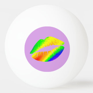 Rainbow Colored Lips Ping Pong Ball