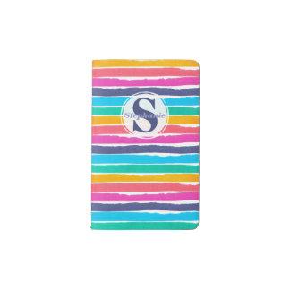 Rainbow Colored Marker Striped Monogram Pocket Moleskine Notebook