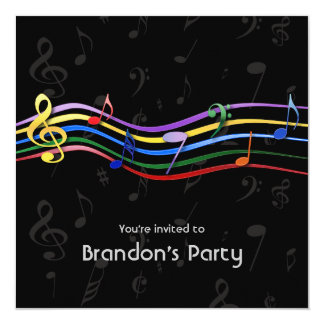 "Rainbow Colored Music Notes Birthday Party 5.25"" Square Invitation Card"