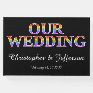 """Rainbow-Colored """"OUR WEDDING"""" Wedding Guest Book"""