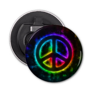 Rainbow Colored Peace Sign Bottle Opener