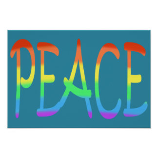Rainbow Colored Peace Word Posters