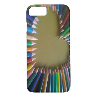 Rainbow Colored Pencil Heart Phone Case