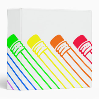 Rainbow Colored Pencils Designed Binder