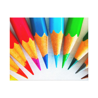 Rainbow Colored Pencils Photo Canvas Print