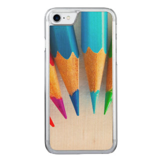Rainbow Colored Pencils Photo Carved iPhone 7 Case