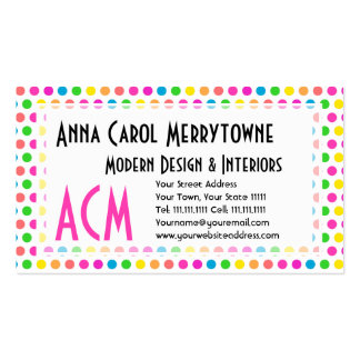 Rainbow Colored Polka Dots Fun Happy Pattern Pack Of Standard Business Cards