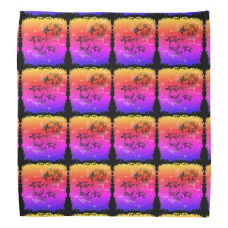 Rainbow colored starfish squares bandana