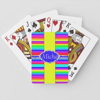 Rainbow Colored Stripes Diamond Monogram Playing Cards