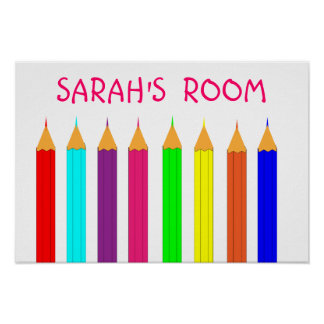 Rainbow Coloring Pencils Kids Name Picture Poster