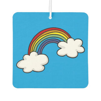 rainbow colors and white clouds car air freshener