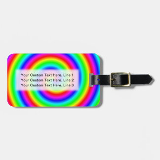 Rainbow Colors. Bright and Colorful Spiral. Luggage Tag