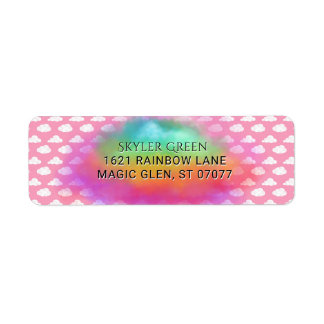 Rainbow Colors Clouds Watercolor Pink Birthday Return Address Label