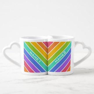 Rainbow Colors custom couple's mugs Lovers Mug Set