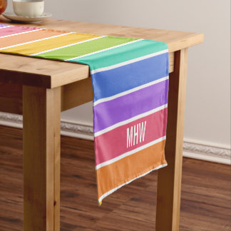 Rainbow Colors custom monogram table runners Short Table Runner
