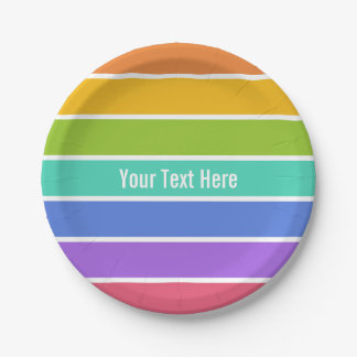 Rainbow colors custom paper plates
