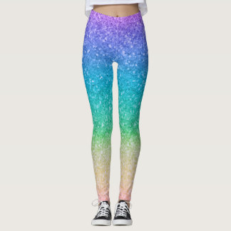 Rainbow Colors Glitter Sparkle Girly Glam Colorful Leggings