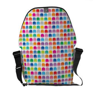 Rainbow Colors Pattern Mosaic Squares Art Bag Messenger Bag