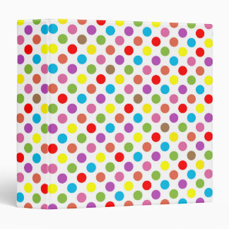 Rainbow colors polka dots pattern 3 ring binder