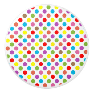 Rainbow colors polka dots pattern ceramic knob