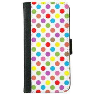 Rainbow colors polka dots pattern iPhone 6 wallet case