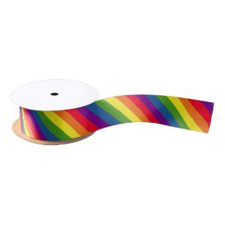 Rainbow Colors Pride Celebration Diagonal Stripes Satin Ribbon
