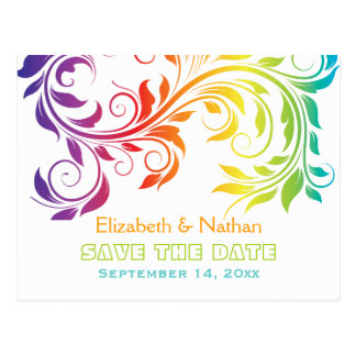 Rainbow colors scroll leaf wedding Save the Date Postcard
