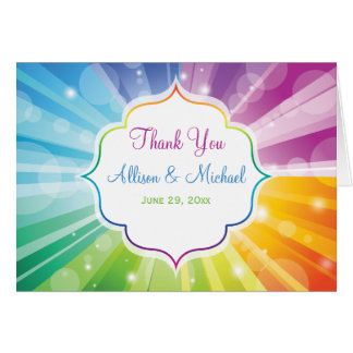 Rainbow Colors Striped Sunburst Thank You Card