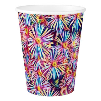 Rainbow Colors Stylized Flowers Paper Cup
