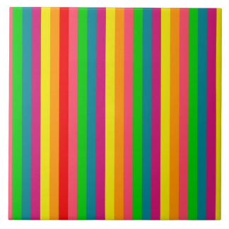 Rainbow Colors Vertical Stripes Style Ceramic Tiles