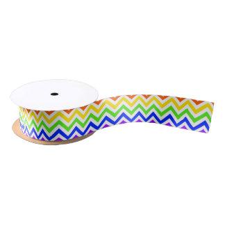 Rainbow Colors, White Large Chevron ZigZag Pattern Satin Ribbon