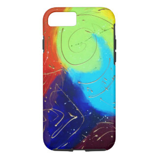 Rainbow colour abstract painting with gold swirls iPhone 7 case