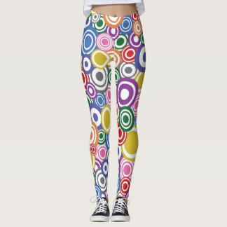 rainbow colour circle leggings funky pattern