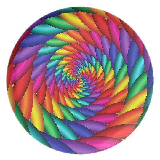 Rainbow Colour Twist Melamine Plate