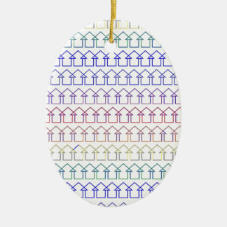 Rainbow coloured arrows with white background ceramic oval ornament