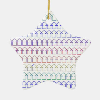 Rainbow coloured arrows with white background ceramic star ornament