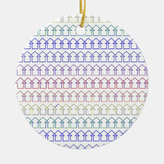 Rainbow coloured arrows with white background round ceramic ornament
