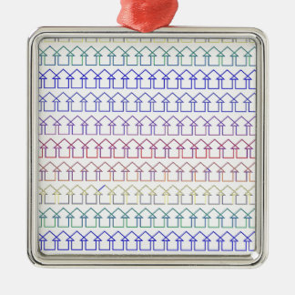 Rainbow coloured arrows with white background Silver-Colored square ornament