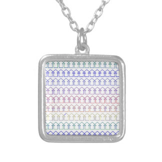 Rainbow coloured arrows with white background silver plated necklace