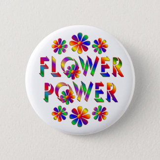 Rainbow Coloured Flower Power 2 Inch Round Button