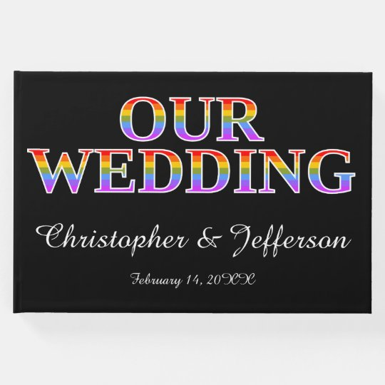 "Rainbow-Coloured ""OUR WEDDING"" Wedding Guest Book"