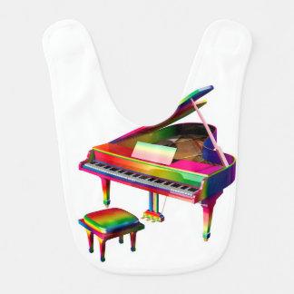 Rainbow Coloured Piano Baby Bib