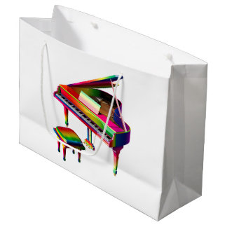 Rainbow Coloured Piano Large Gift Bag
