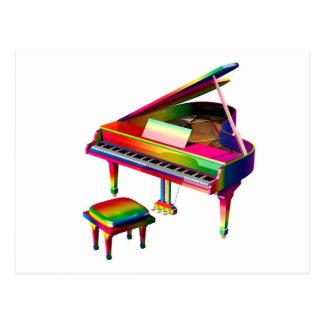Rainbow Coloured Piano Postcard