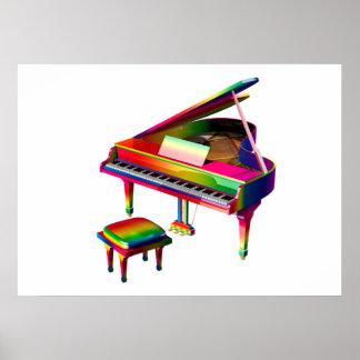 Rainbow Coloured Piano Poster