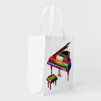 Rainbow Coloured Piano Reusable Grocery Bag