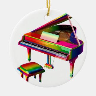 Rainbow Coloured Piano Round Ceramic Ornament