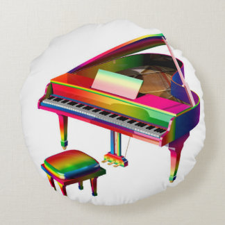 Rainbow Coloured Piano Round Pillow