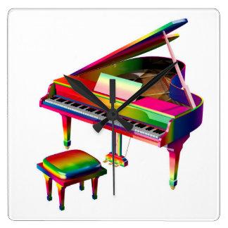 Rainbow Coloured Piano Square Wall Clock