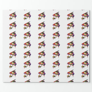 Rainbow Coloured Piano Wrapping Paper